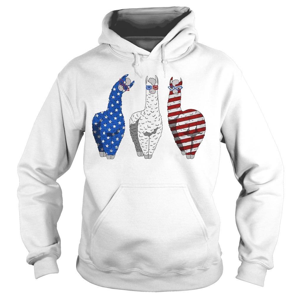 Llama American Flag Veteran Independence Day Hoodie