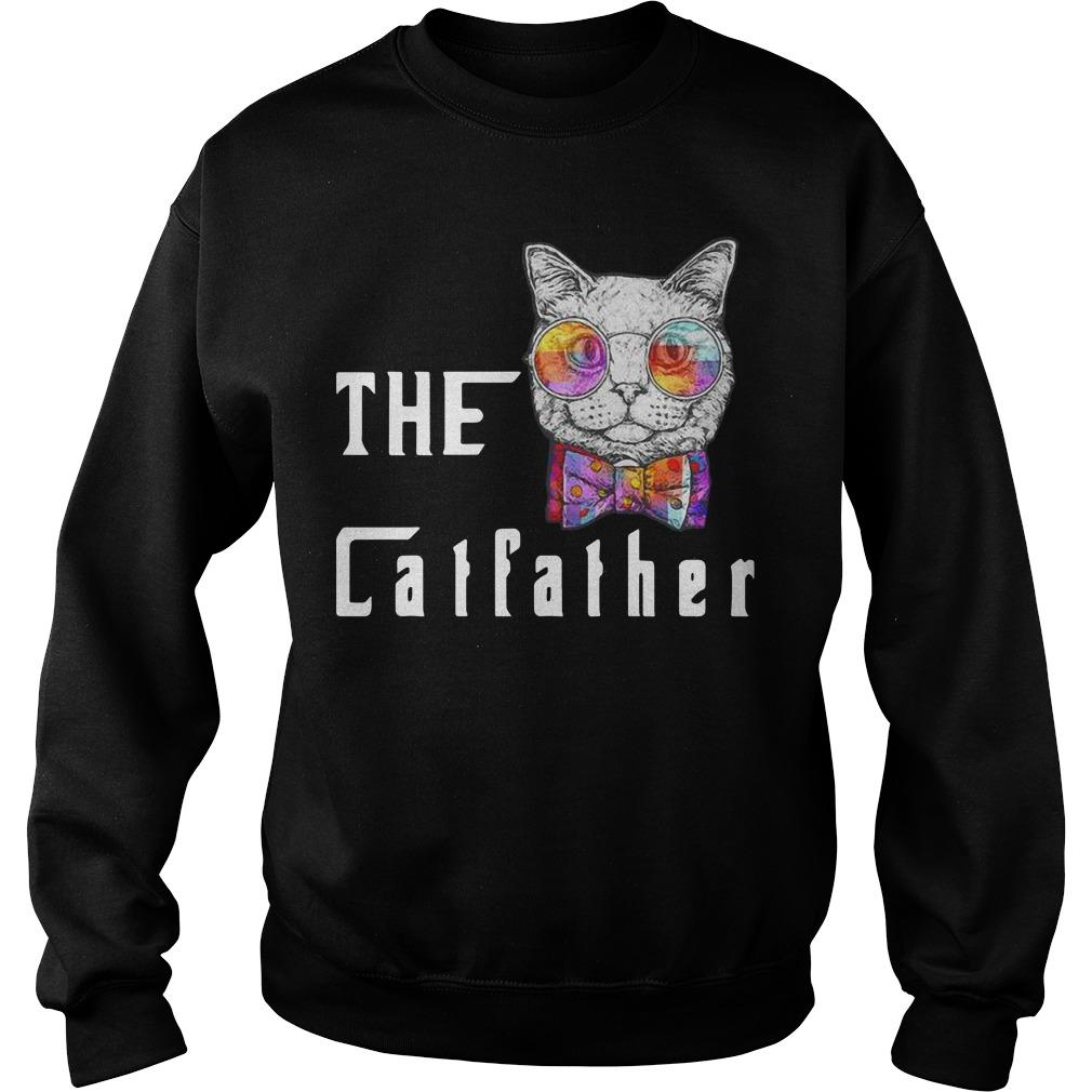 Nerd Cat With Glasses And Bow The Catfather Sweater