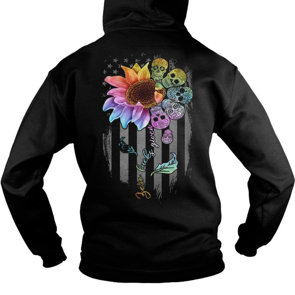 American Flag Skull Sunflower Zero Fucks Given Hoodie