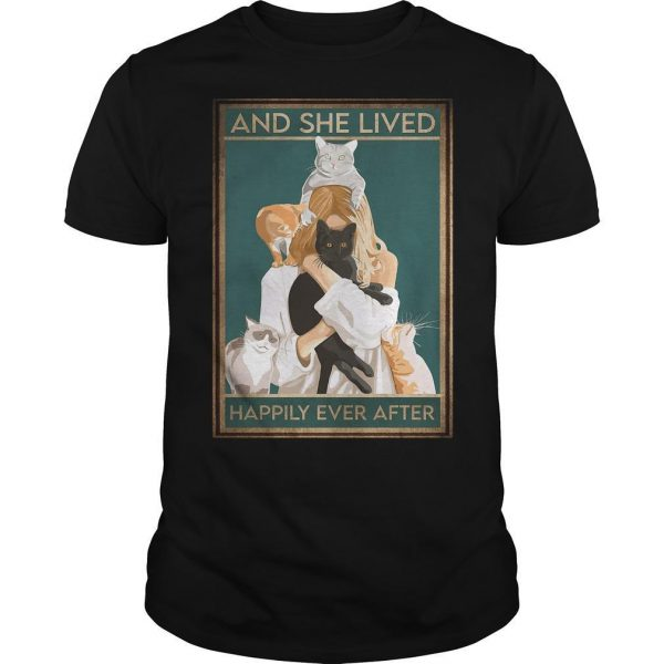 Girl Hugging Cat Happily Ever After Shirt