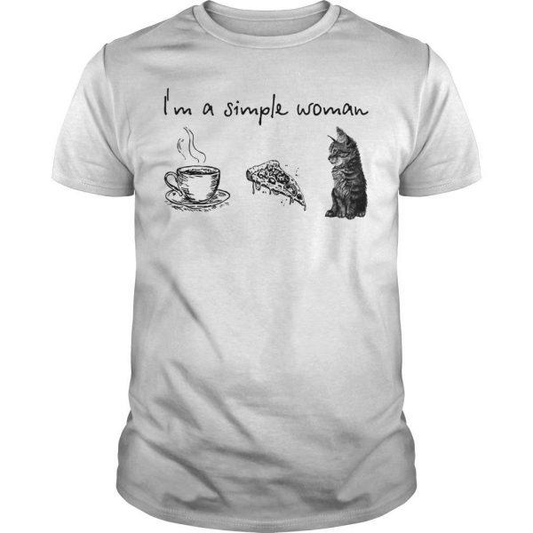 I'm A Simple Woman Tea Pizza Cat Shirt