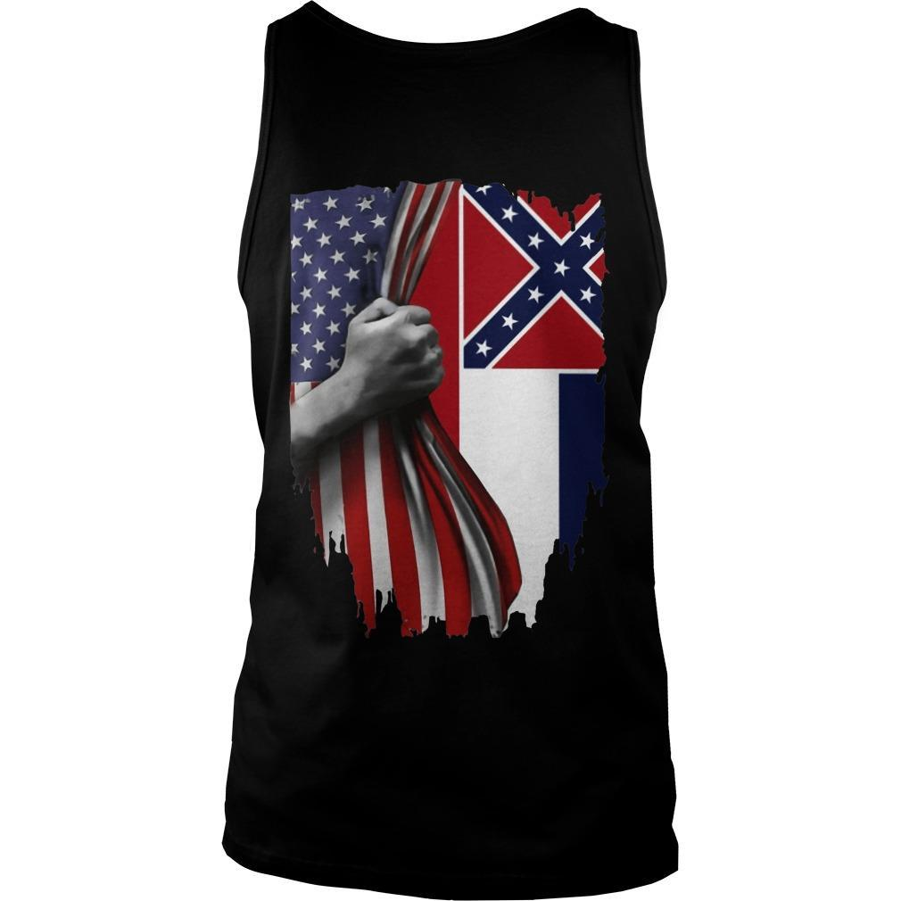 Mississippi And American Flag Tank Top