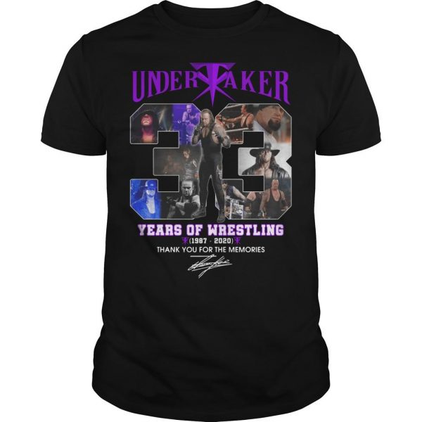 Undertaker 33 Years Of Wrestling Thank You For The Memories Shirt