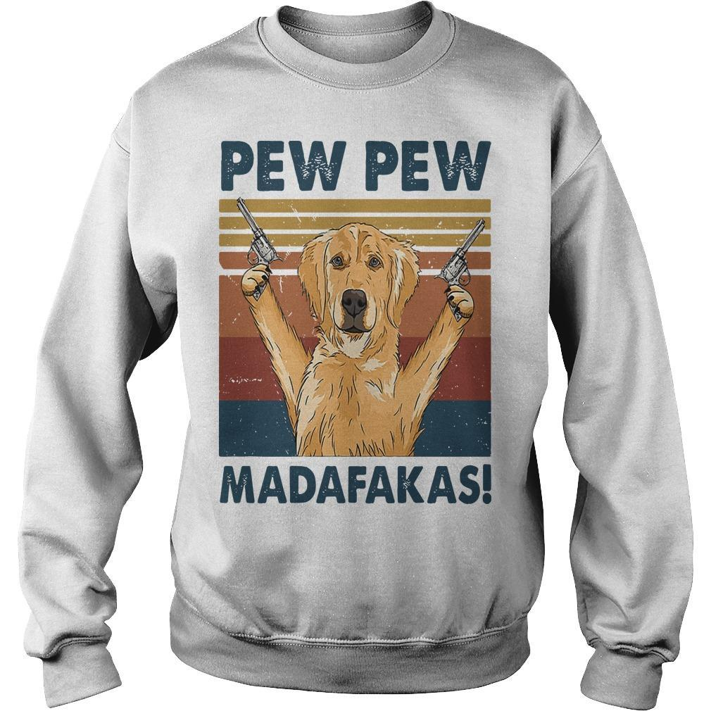 Vintage Golden Retriever Pew Pew Madafakas Sweater