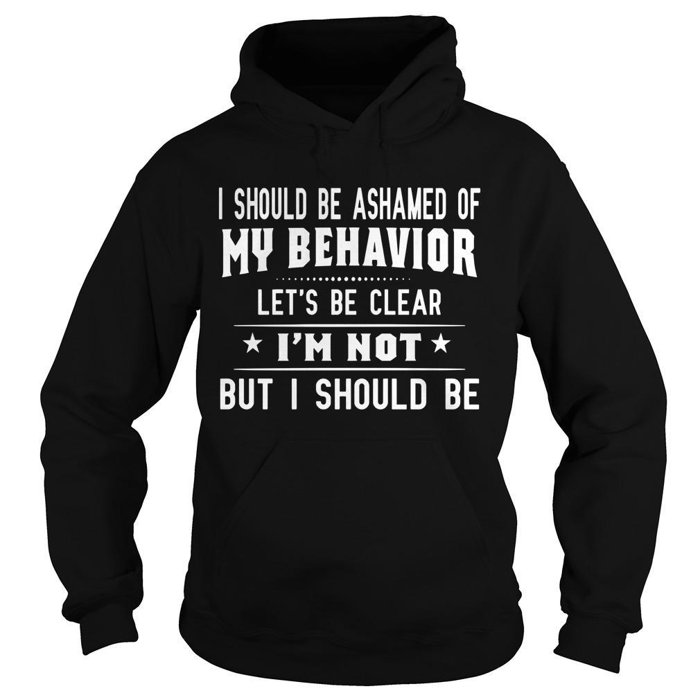 I Should Be Ashamed Of My Behavior Let's Be Clear Hoodie