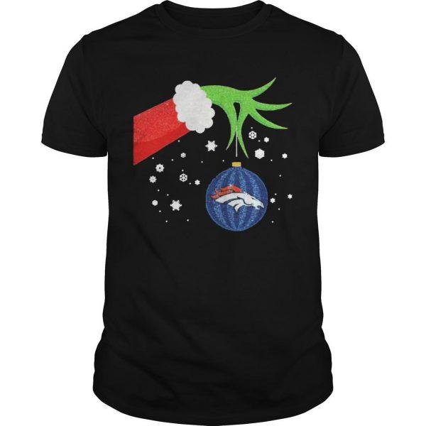 Christmas Grinch Hand Denver Broncos T Shirt