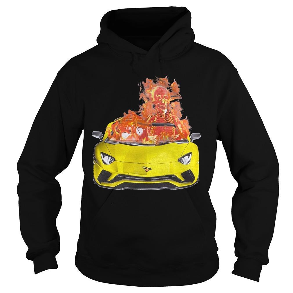 Fire Skull On Car Hoodie