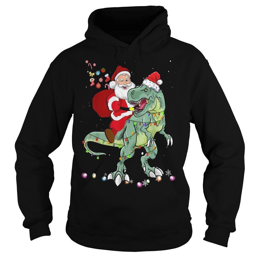 Santa Dinosaur Boys Christmas Hoodie