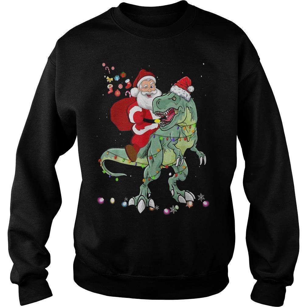Santa Dinosaur Boys Christmas Sweater