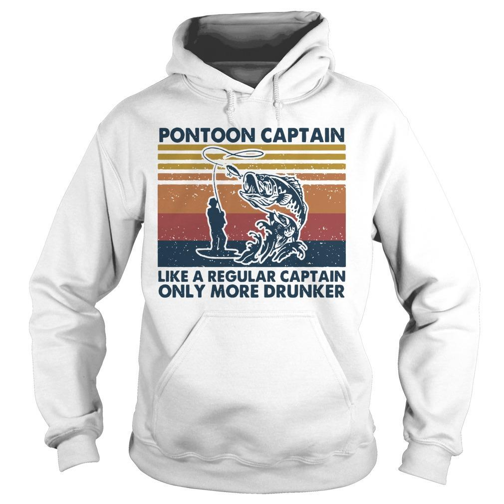 Vintage Fish Like A Regular Captain Pontoon Captain Hoodie