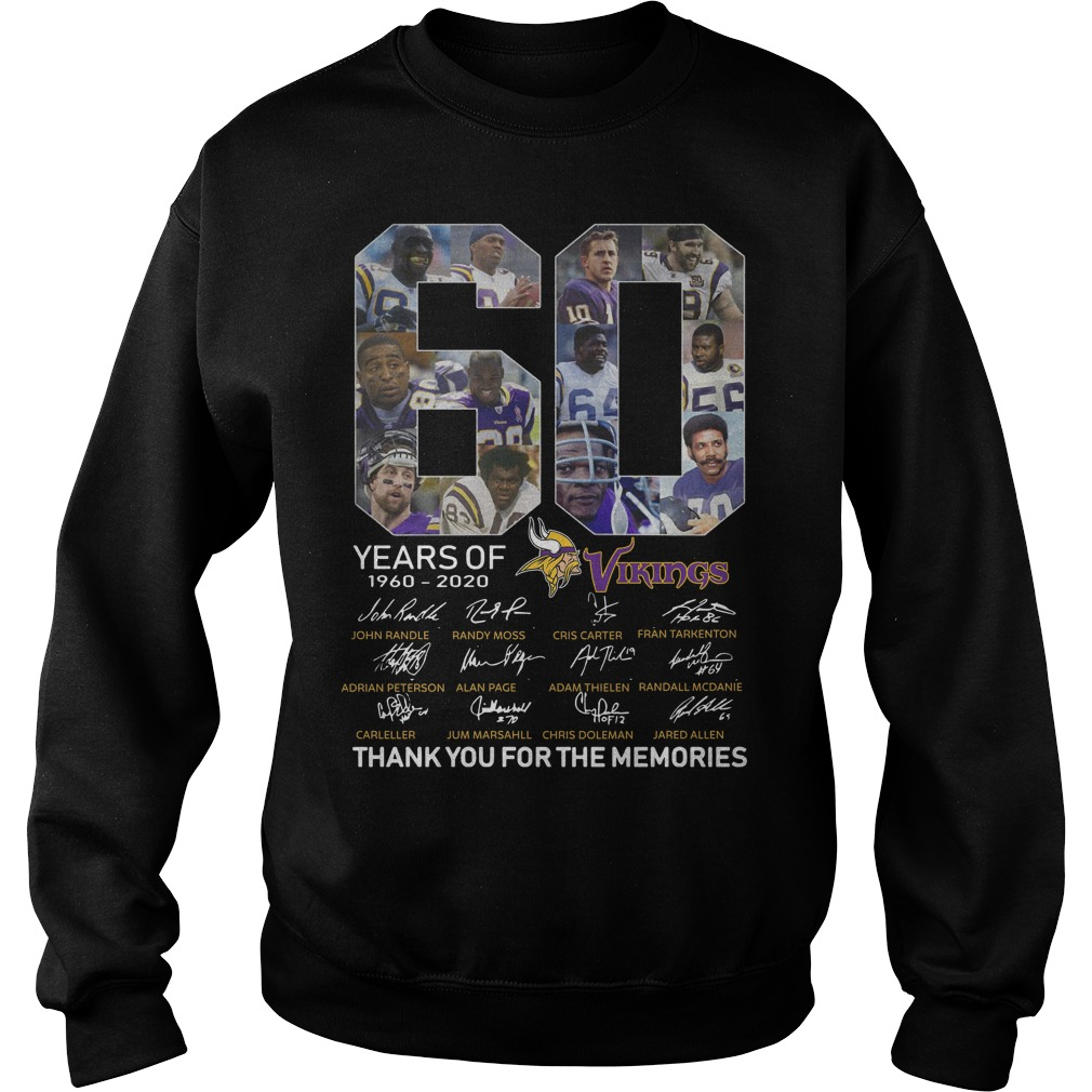 60 Years Of Vikings 1960 2020 Thank You For The Memories Sweater