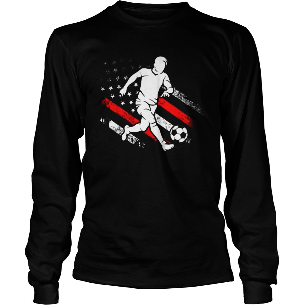 American Flag Soccer Dad Distressed Patriotic Longsleeve Tee