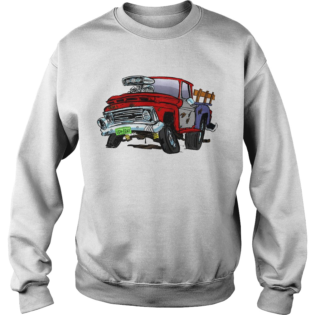 Jeff Dunham Bubba J Hot Rod Pick Up Truck Raglan Baseball Sweater