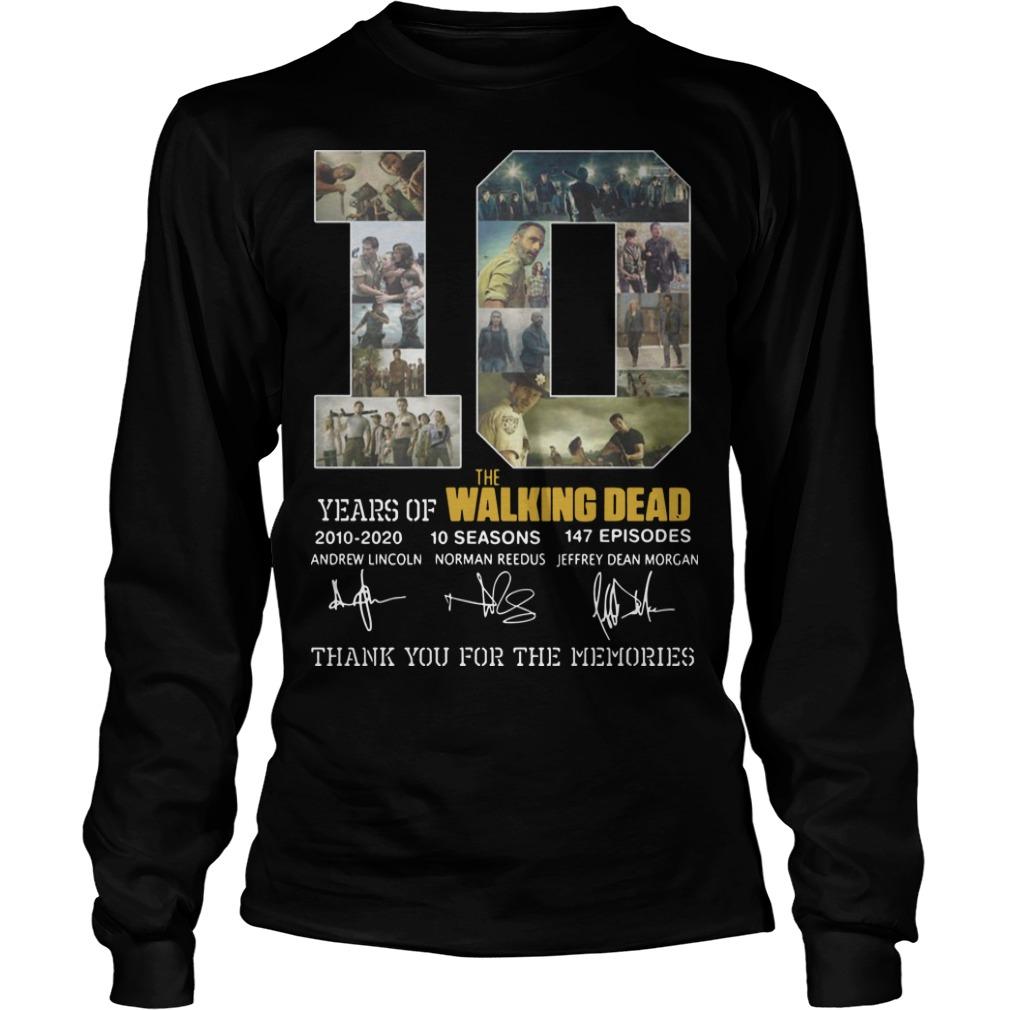 10 Years Of The Walking Dead 2010 2020 10 Seasons 147 Episodes Longsleeve Tee
