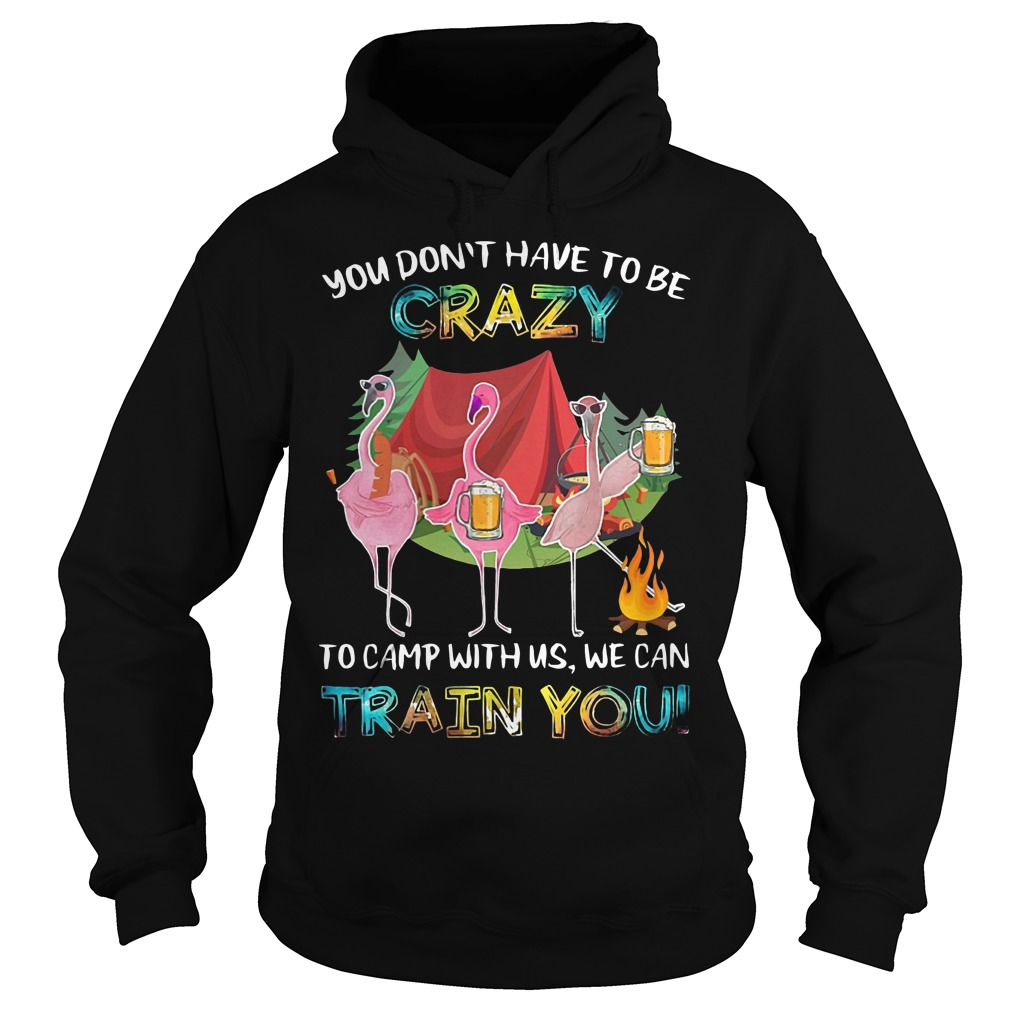 Flamingo Beer You Don't Have To Be Crazy To Camp With Us We Can Train You Hoodie