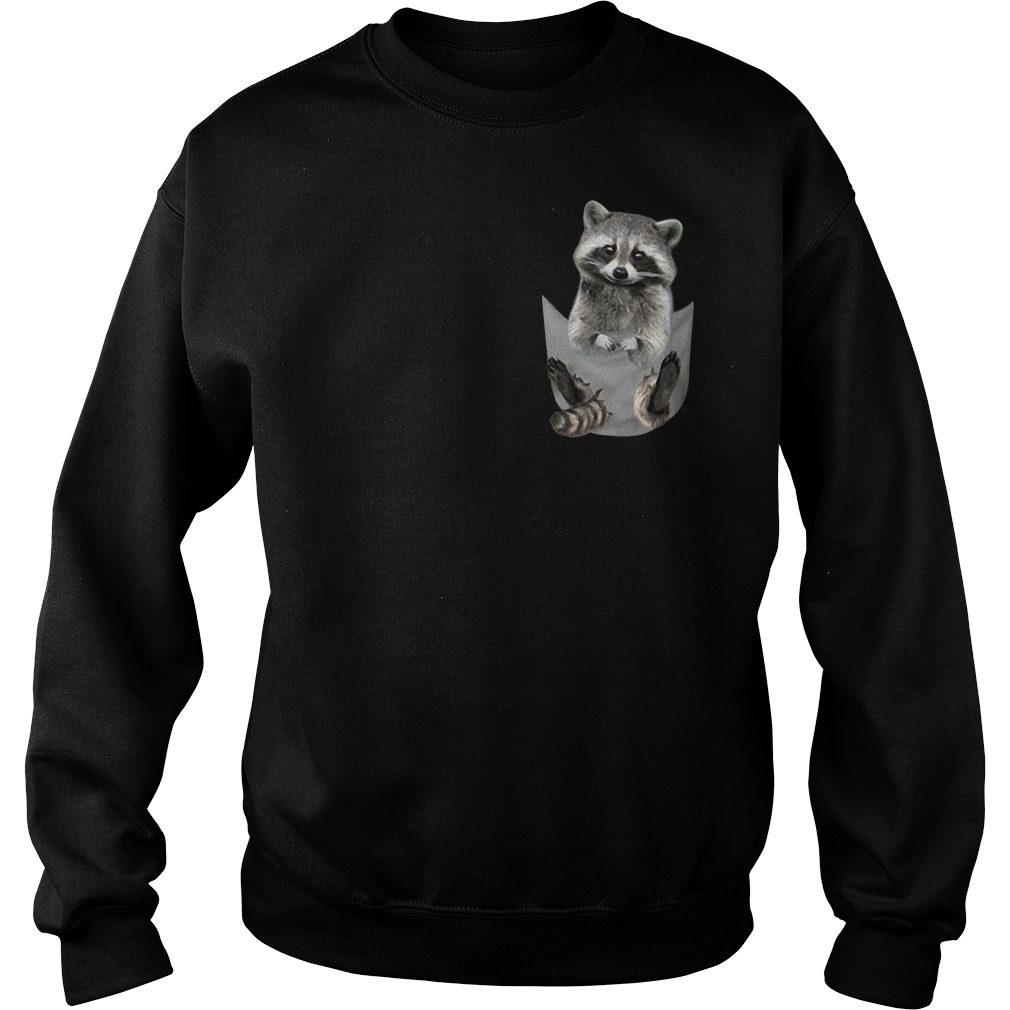 Raccoon In Pocket Sweater