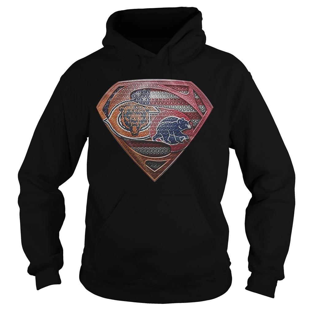 Chicago Bears Chicago Cubs Logo Superman T Hoodie