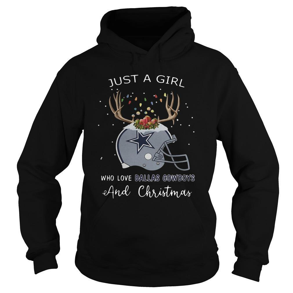 Just A Girl Who Love Dallas Cowboys And Christmas Hoodie