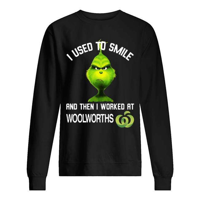 Grinch I Used To Smiled And Then I Worked At Woolworths Sweater