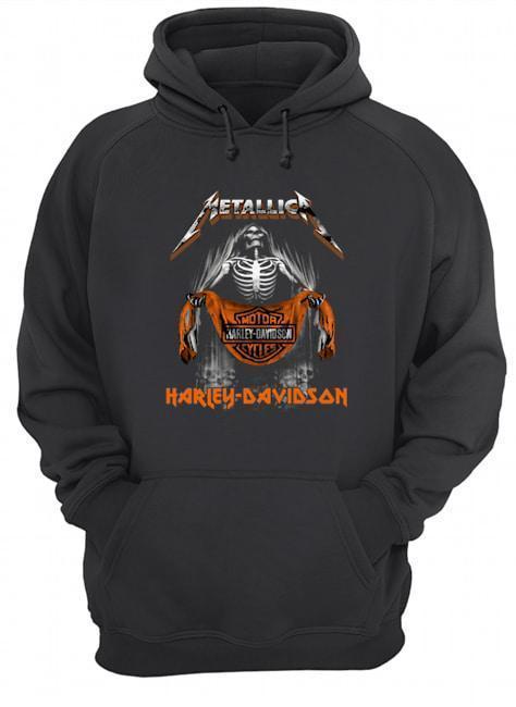 Metallica Skull Motor Cycles Harley Davidson T Hoodie