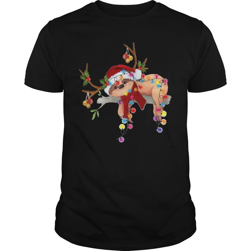 Sloth Reindeer Christmas Light Shirt