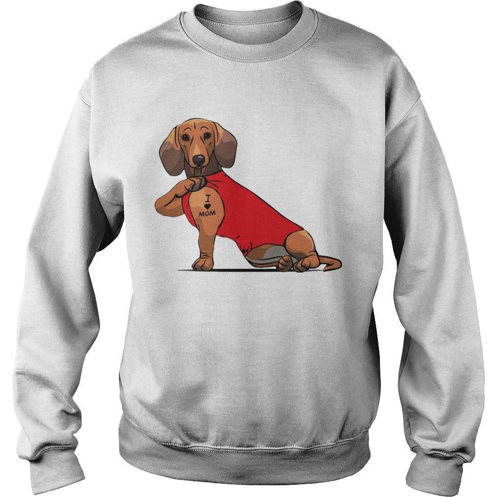 Dachshund I Love Mom Tattoo Sweater