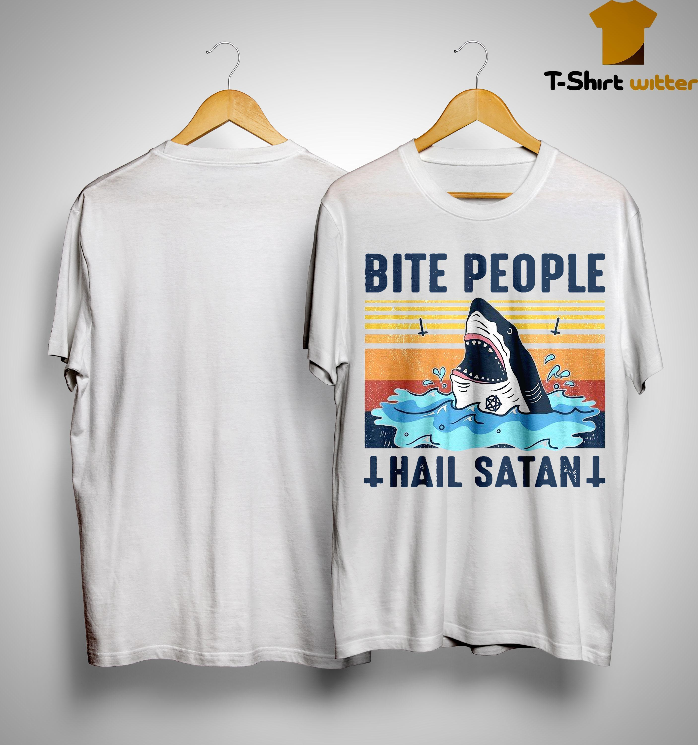 Vintage Shark Bite People Hail Satan Shirt