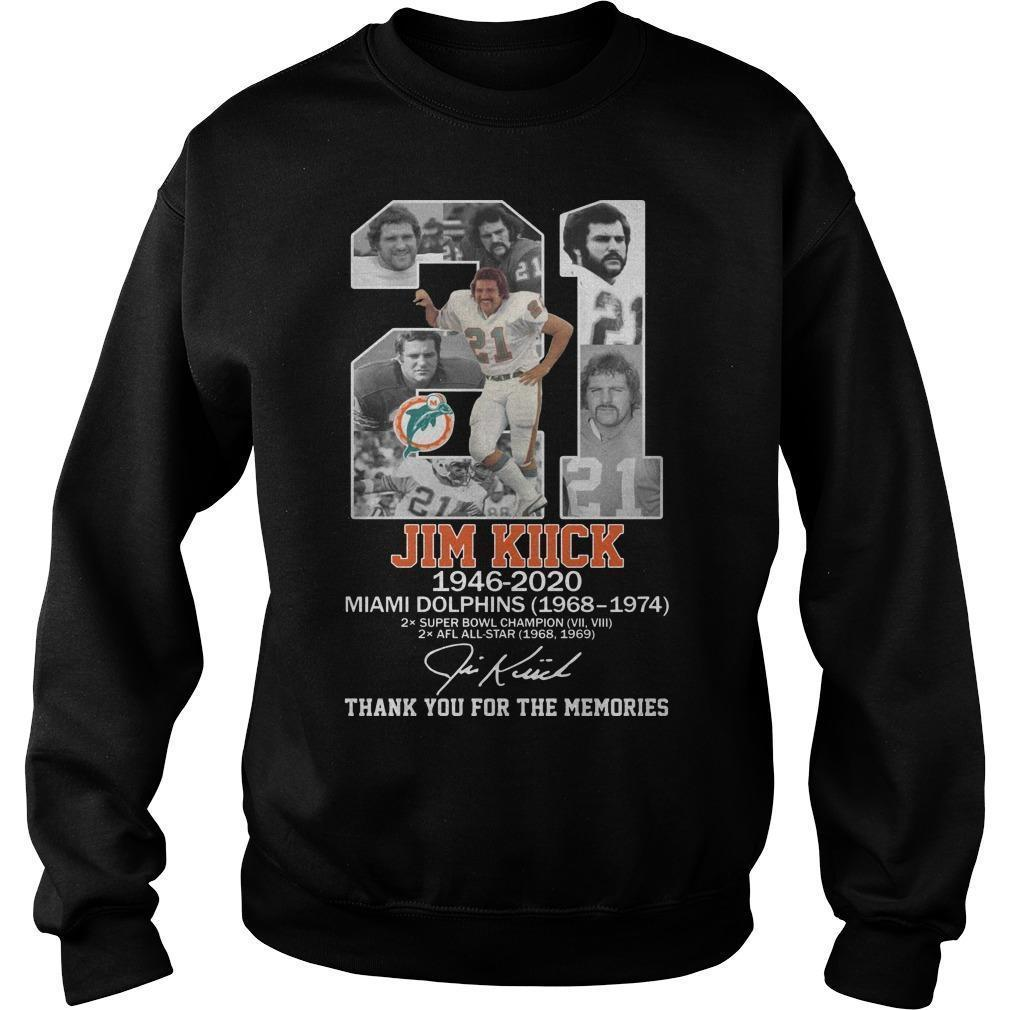 21 Jim Kiick Miami Dolphins Thank You For The Memories Sweater
