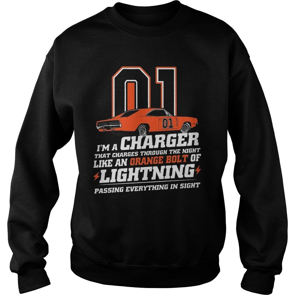 01 I'm A Charger That Charges Through The Night Like An Orange Bolt Sweater