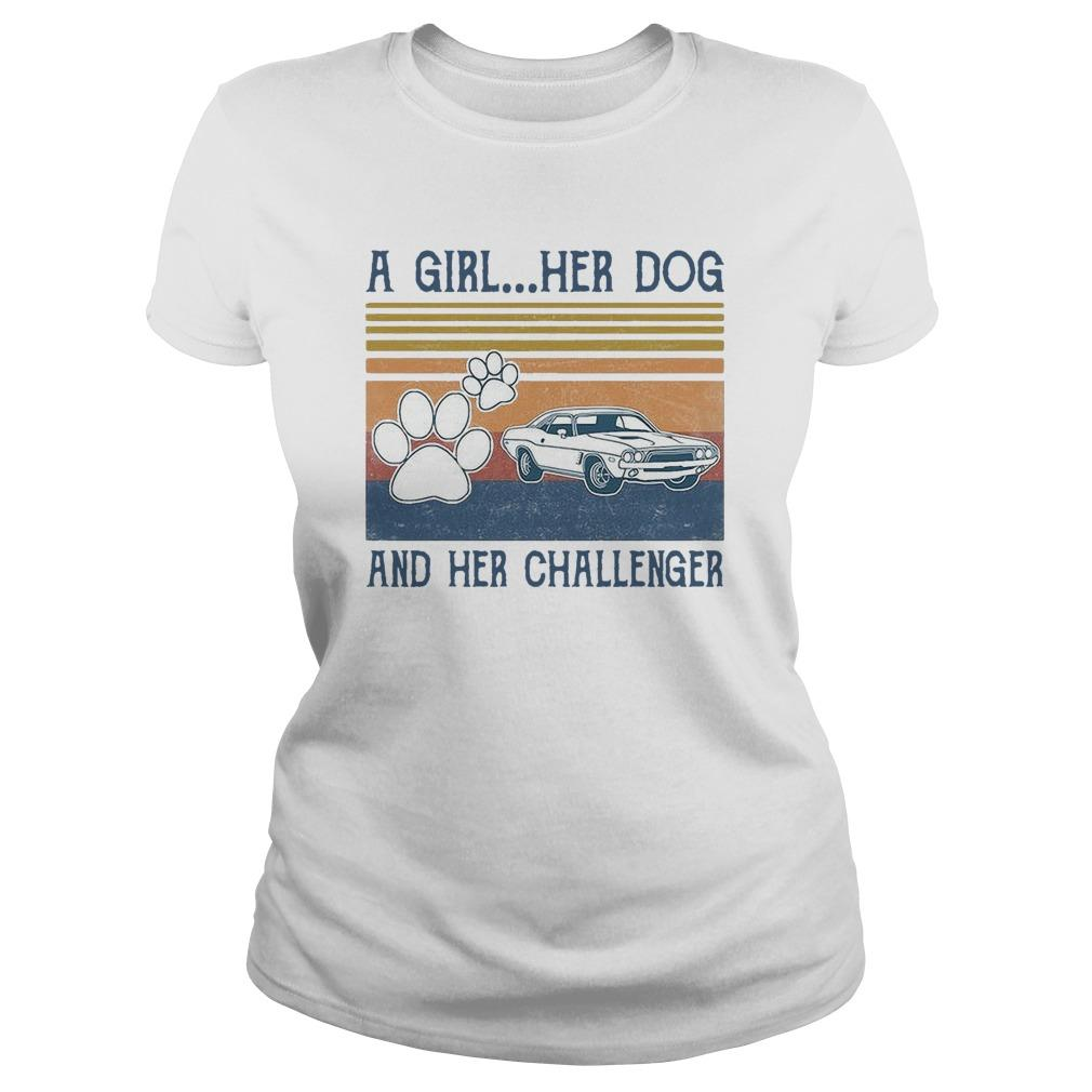 Vintage A Girl Her Dog And Her Challenger Hoodie