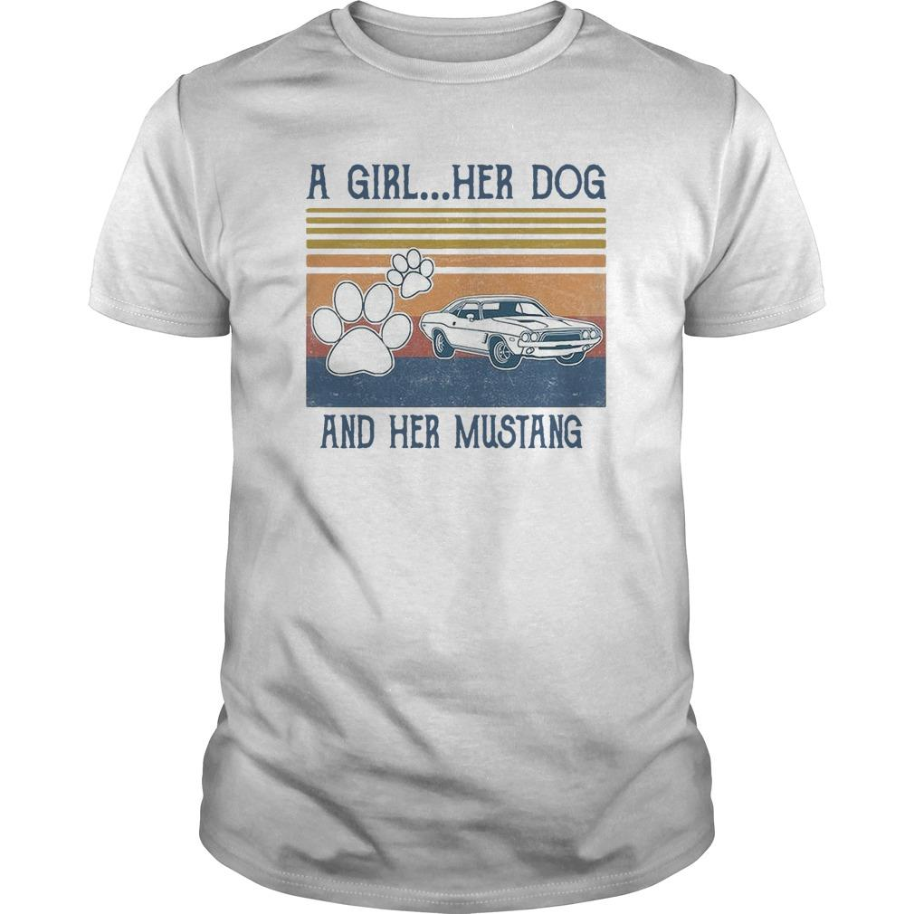 Vintage A Girl Her Dog And Her Mustang Shirt