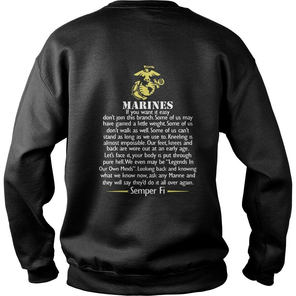 Marines If You Want It Easy Don't Join This Branch Sweater