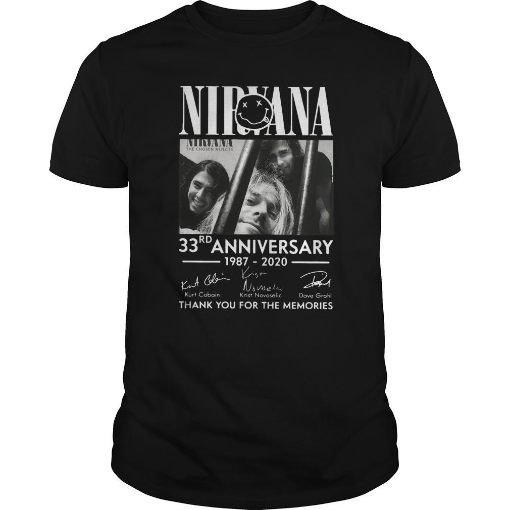 Nirvana 33rd Anniversary Thank You For The Memories Shirt