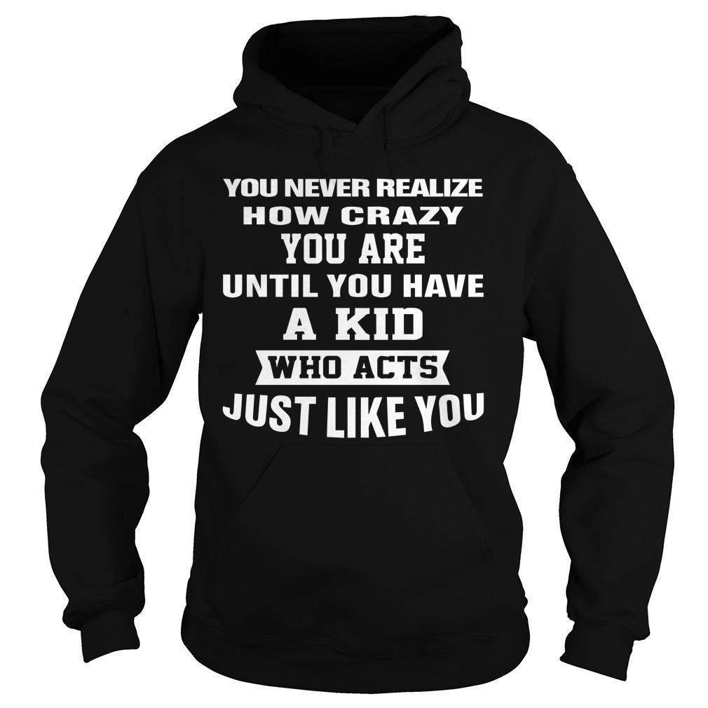 You Never Realize How Crazy You Are Until You Have A Kid Hoodie