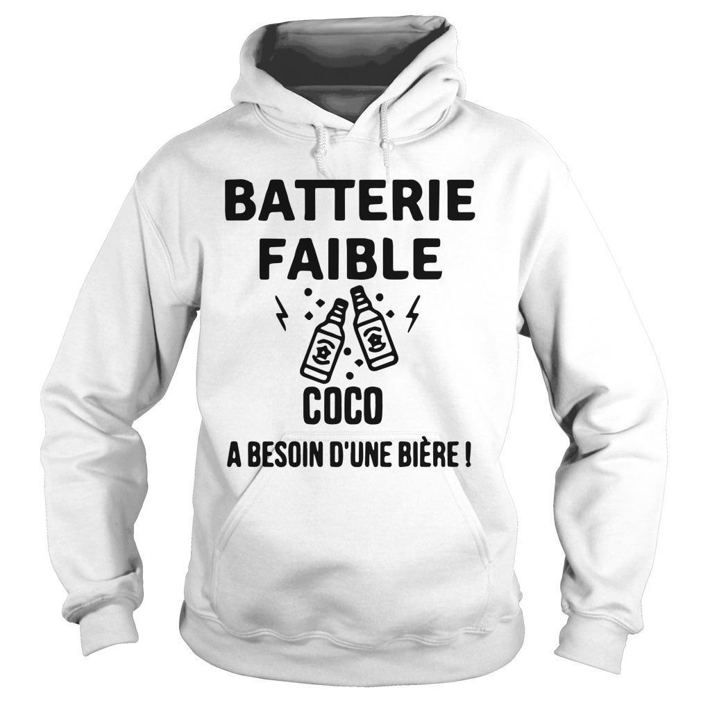 Batterie Faible Coco A Besoin D'une Bière Hoodie