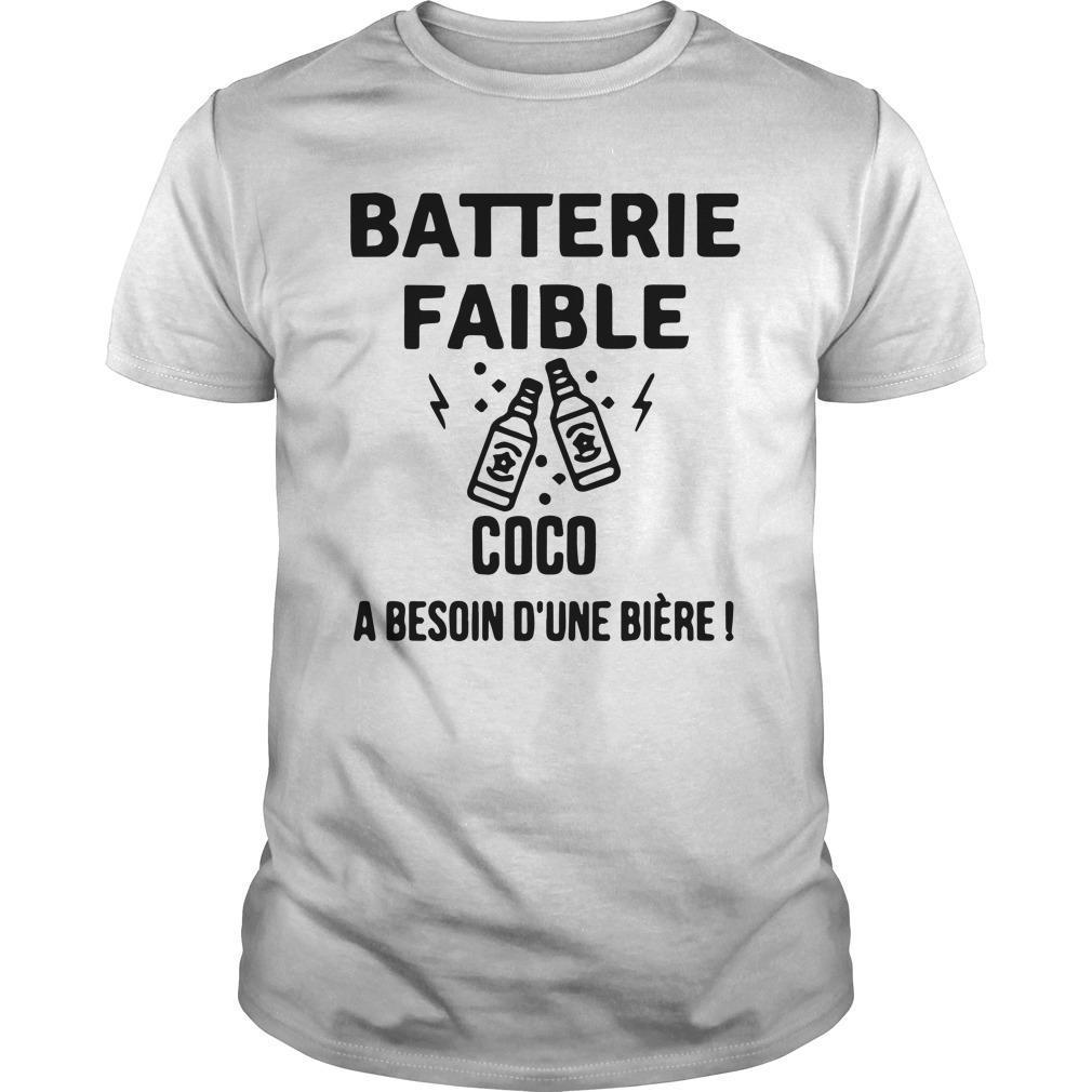 Batterie Faible Coco A Besoin D'une Bière Shirt