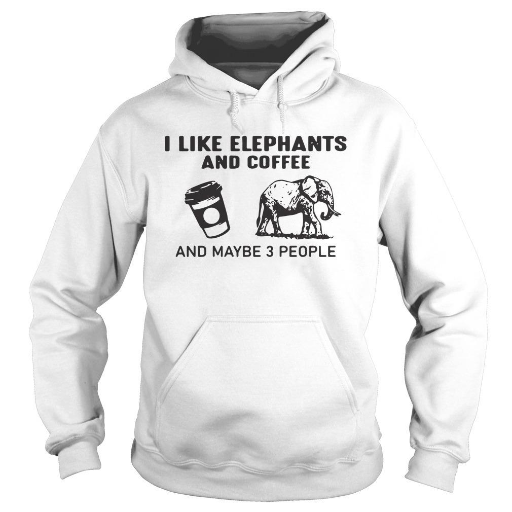 I Like Elephants And Coffee And Maybe 3 People Hoodie