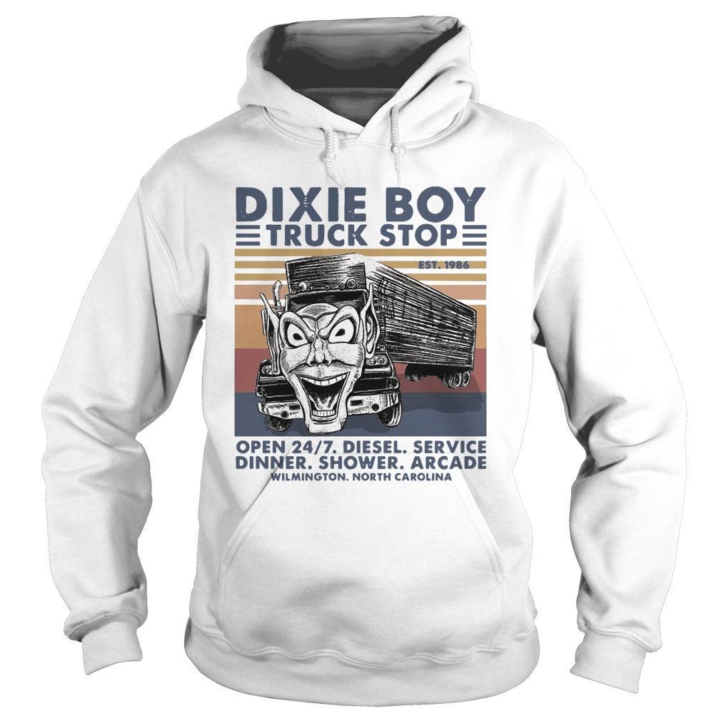 Vintage Dixie Boy Truck Stop Open 24 7 Diesel Service Hoodie