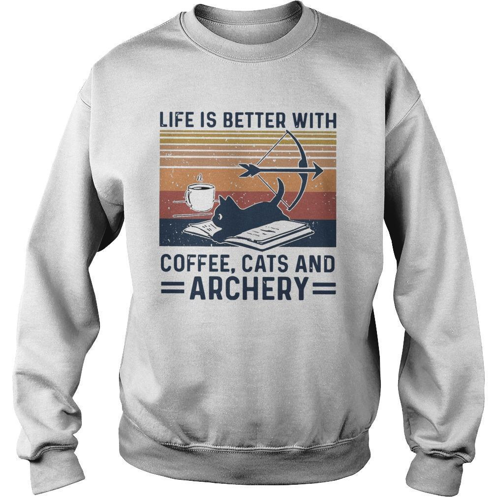 Vintage Life Is Better With Coffee Cats And Archery Sweater