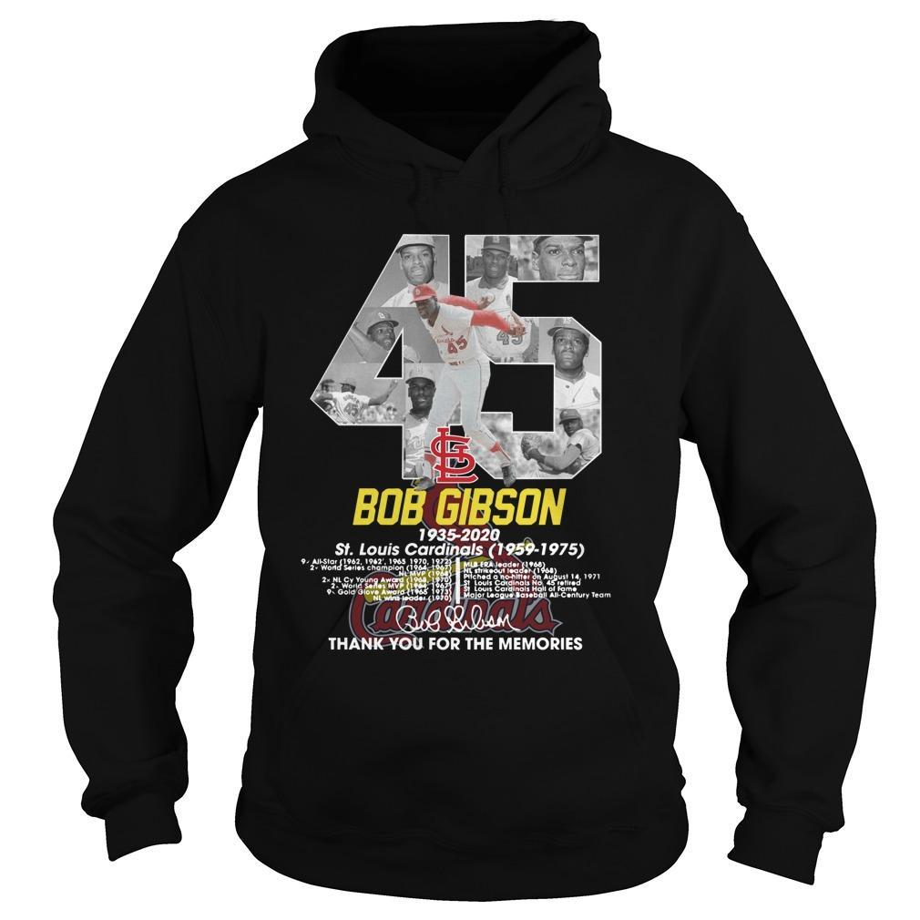 45 Bob Gibson St Louis Cardinals Thank You For The Memories Hoodie