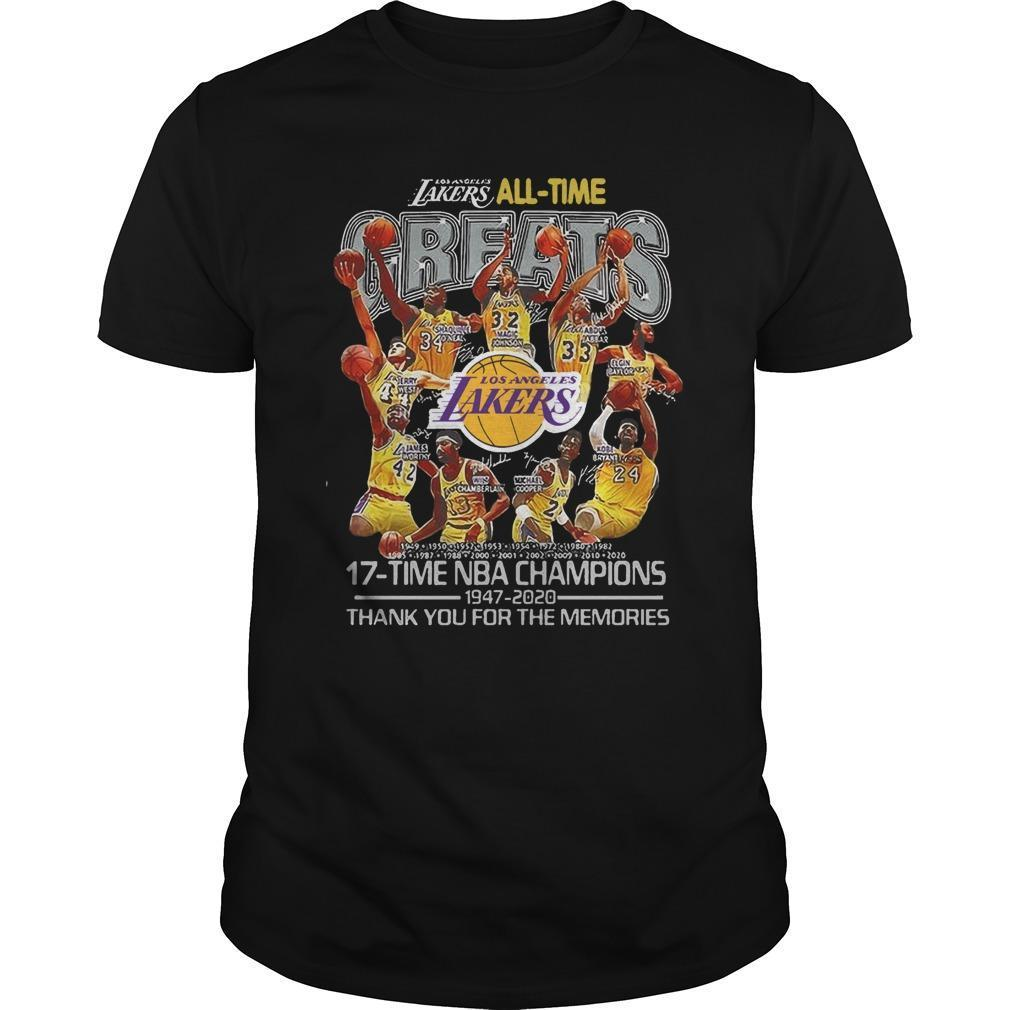 Los Angeles Lakers All Time Greats 17 Time Nba Champions Shirt