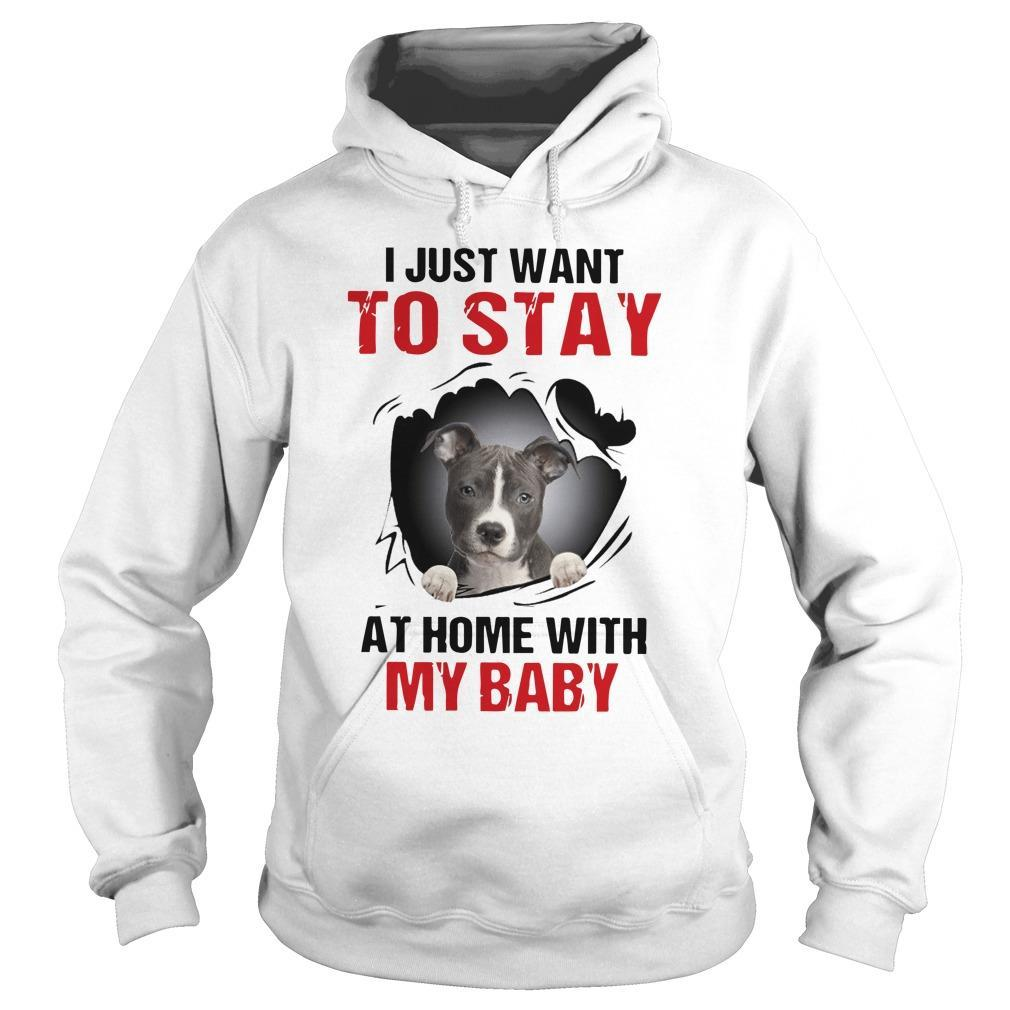 Pitbull I Just Want To Stay At Home With My Baby Hoodie