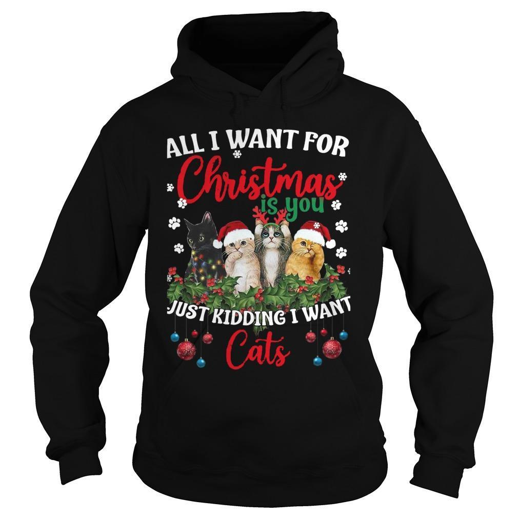 All I Want For Christmas Is You Just Kidding I Want Cats Hoodie