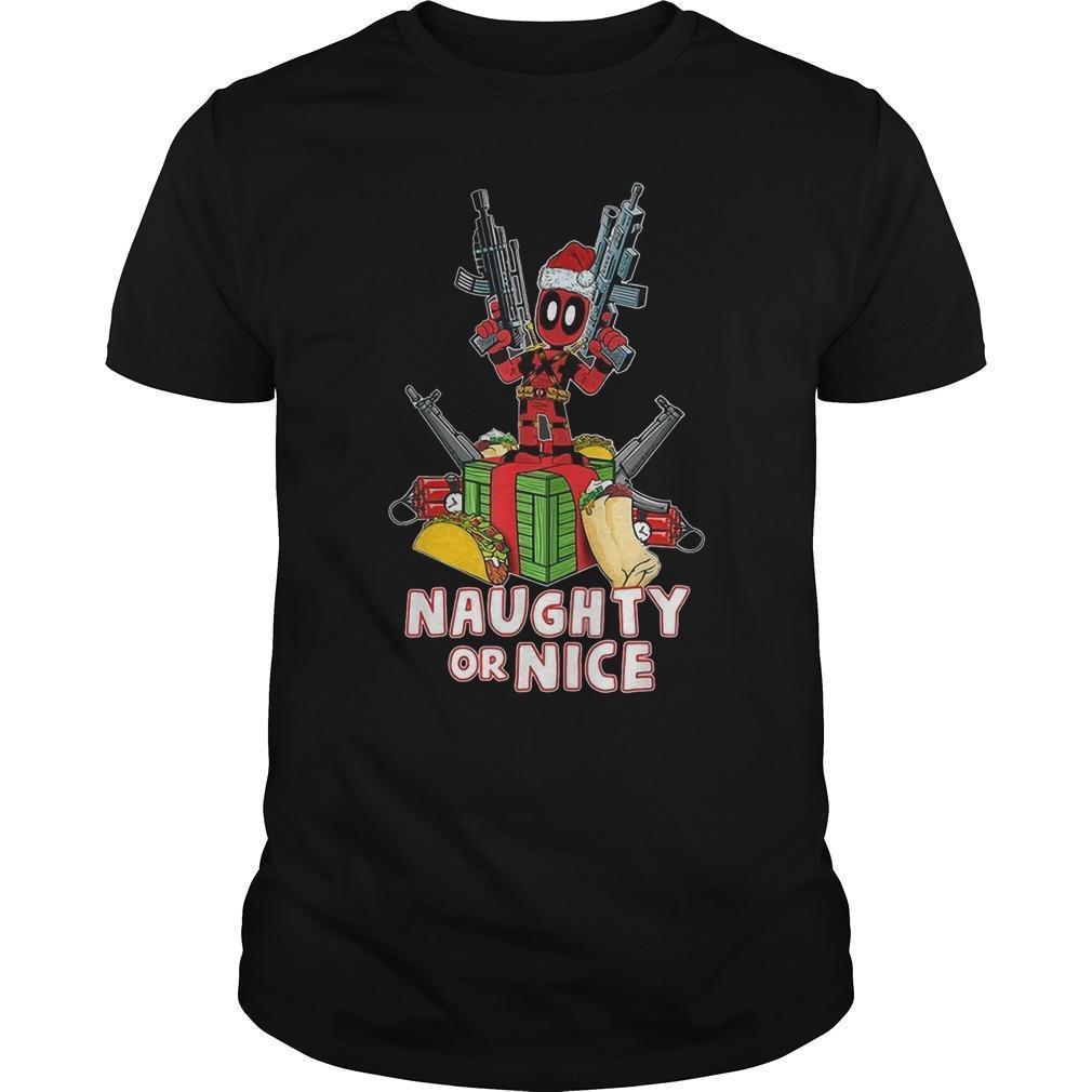 Christmas Deadpool Naughty Or Nice Shirt