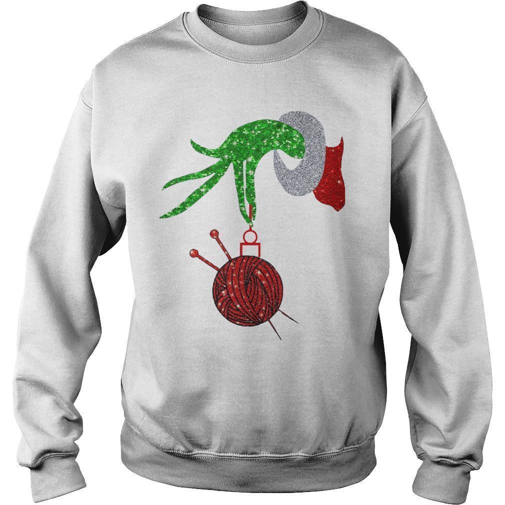 Christmas Grinch Hand Yarn Sweater