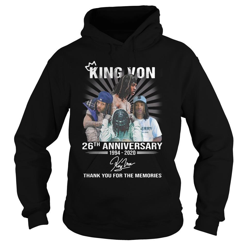King Von 26th Anniversary Thank You For The Memories Hoodie