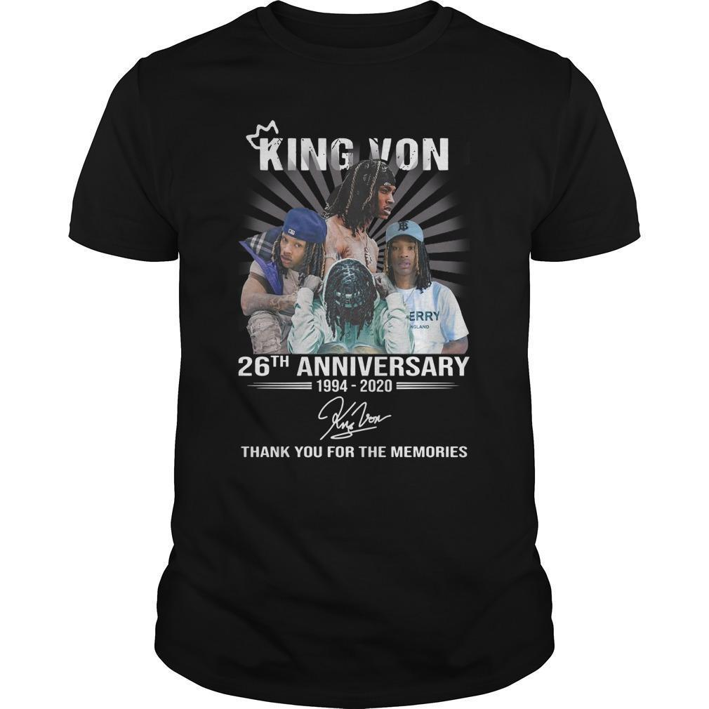 King Von 26th Anniversary Thank You For The Memories Shirt