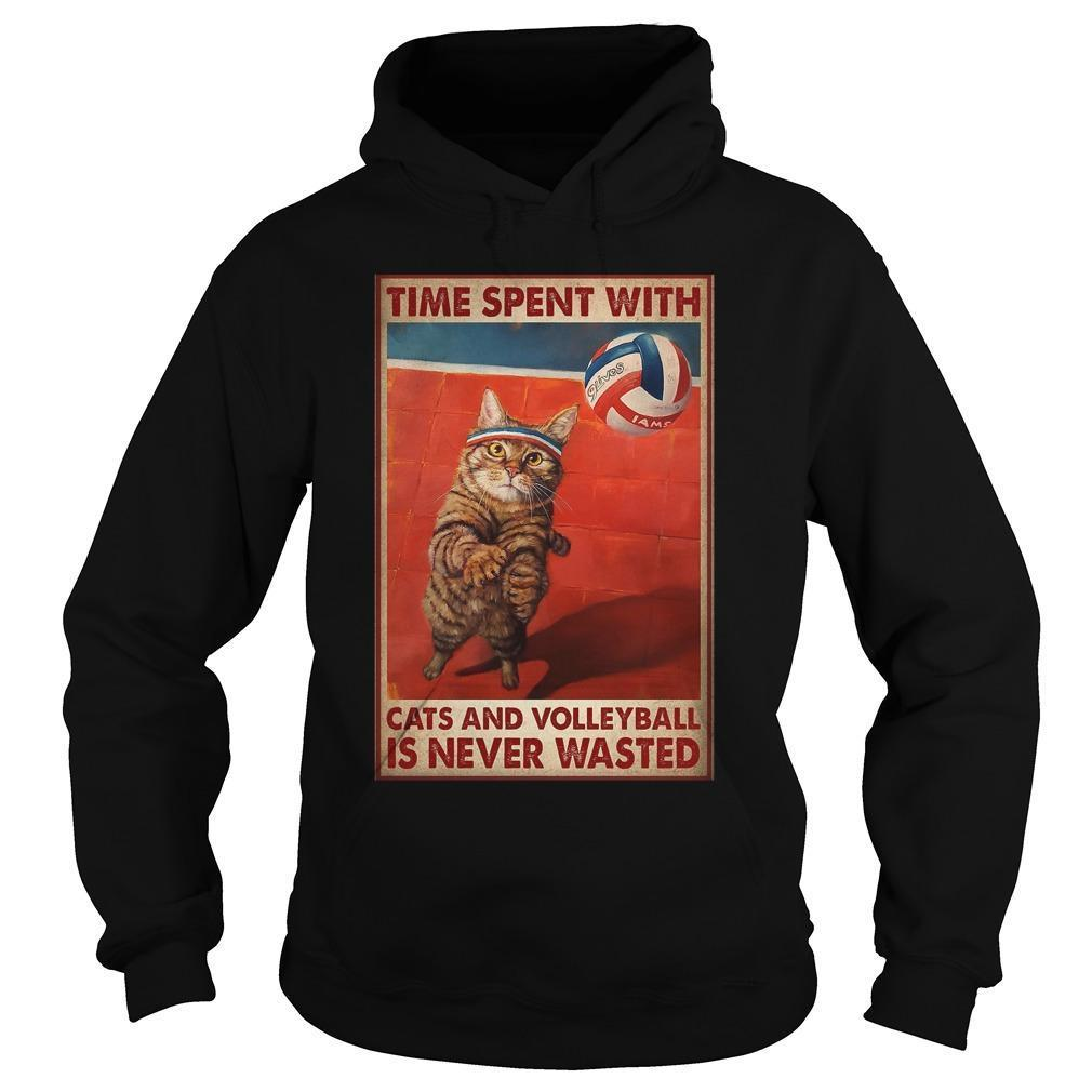 Time Spent With Cats And Volleyball Is Never Wasted Hoodie