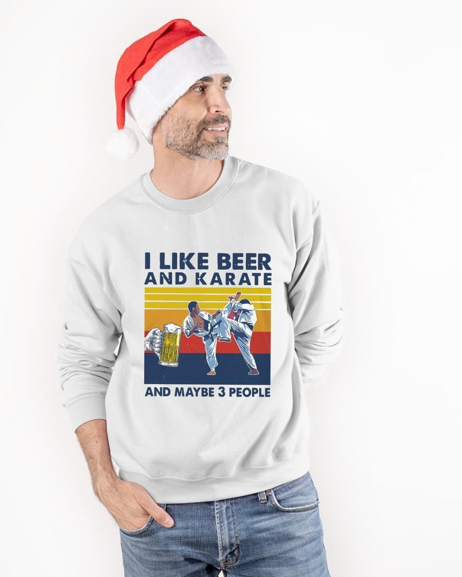 Vintage I Like Beer And Karate And Maybe 3 People Sweater