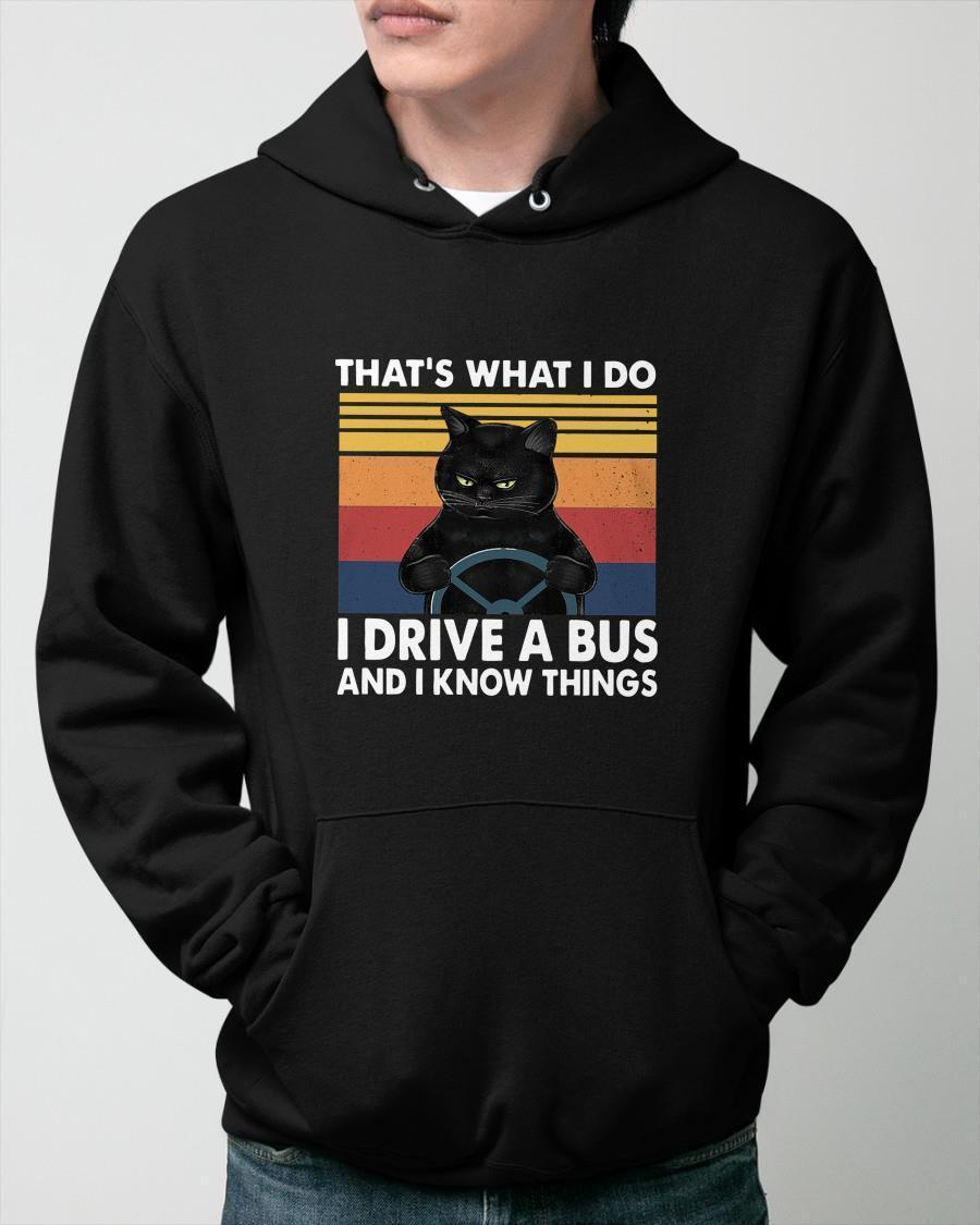 Vintage Cat That's What I Do I Drive A Bus And I Know Things Hoodie